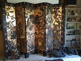 Large painted and gilt Asian / Japanese 6 panel screen.