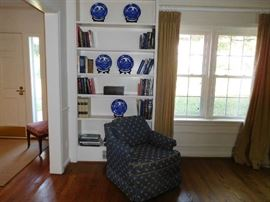 china,   books,  Ethan Allen  chairs