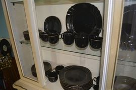 Black china with gold trim