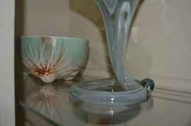 Mid-Century art glass and McCoy acorn bowl