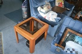 Wood and glass end table