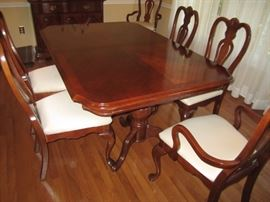 Cherry dining table with 6 chairs, server and breakfront