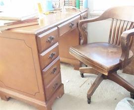 Bedroom suite: maple trundle bed, dressser & mirror, student desk. vintage office chair