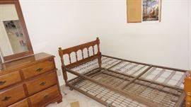 Bedroom suite: maple trundle bed, dressser & mirror, student desk