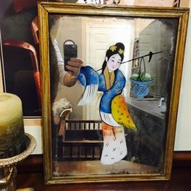 reverse painted Geisha