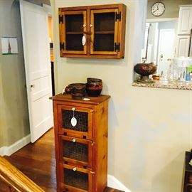 chickenwire hanging cabinet and storage cabinet