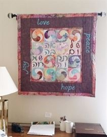 Hand stitched quilted Judaic tapestry