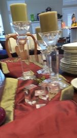 Shannon crystal candlesticks.  Many candle holders and candles