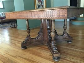 Rare Wormy Walnut table imported from England.
