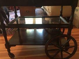 Beautiful Antique Mahogany Tea cart- all there.