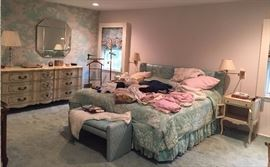 The King Bed - The Triple Size Dresser - End Tables - The Mirror In The Back Is Signed By Don Alguire