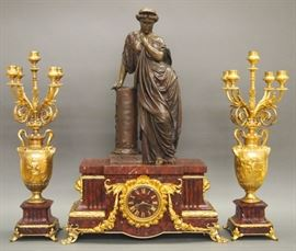 French 3 pc Bronze and Marble clock set by Barbedienne