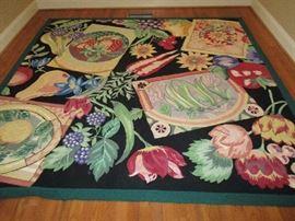Area rug w/flowers 90x90