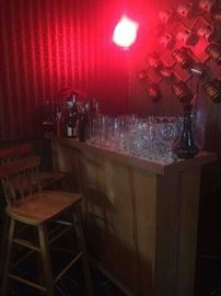 Bar with 2 stools, Vintage swag globe lamp