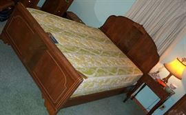 Walnut bed (part of 3 pc suite - priced separately) and night stand