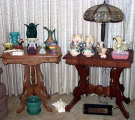 2 Victorian lamp tables, Slag glass lamp, Roseville, VanBriggle, Hull pottery and more