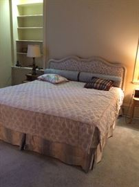 #1 French Provencal fabric king size headboard $200 #2 Stein Foster king size mattress set $175
