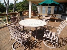Outdoor set with 4 rockers and inlaid table, another smaller table available