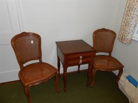 Cane chairs, Empire night table, yoga kit, more.