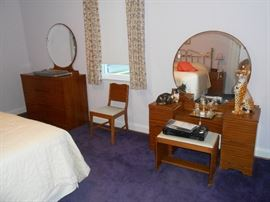 Mid-mod blonde mahogany bedroom suite.  Vanity, dresser, wardrobe, chair, full bed, mattress, night stand, more.