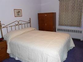 Wardrobe, queen brass bed, mattress set, more.