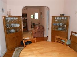 Table, chairs, corner cabinets, china, stemware, more.