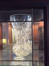 Huge Cut Glass Fancy Clear Vase, European, gifted to Michelle w/Christmas note signed by Elizabeth Taylor.