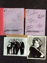 Cast Signed Murphy Brown Scripts and Photos, with Candice Bergen. Elizabeth Taylor episode.