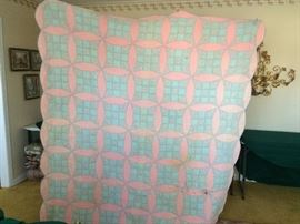 #43 Queen pink blue 9 patch quilt $45 — at Sherwood Dr Hsv 35802 Call 803-354-293three.