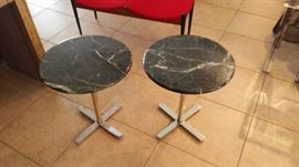 Pair mid-century modern marble and chrome side tables.