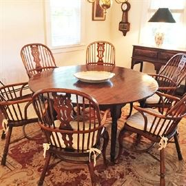 These chairs were custom made in England and are in fantastic condition -- please see the next pic to see how they look without the cushions; the antique table was bought separately and these can be sold all together or separately.
