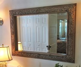 Hard to see in this pic, but this mirror has acorns and oak leaves all around it.  Surprisingly, it's a newer one, but looks the part of its early 1900s inspiration.
