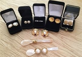 14K French back Mabe pearl oval, 14K pearl and ballerina set diamond pierced, 18K sapphire and diamond pierced, Chanel signature clip, 14K pierced, 14K  Pearl and semiprecious clips,  14 carat sapphire clips,  14K Mabe clips