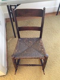 Walnut Ladder Back Rush Seat Child's Rocker