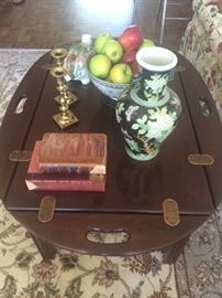 A living room worthy butlers tray coffee table with amazing oriental accessories!