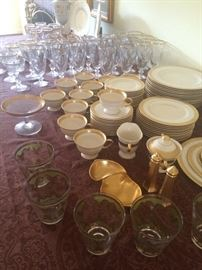 A lovely set of Pickard wedding China with matching Crystal… Never used!