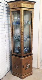 Gold Asian Motif Curio Cabinet