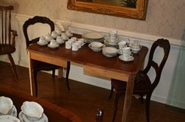 Vintage oak table, 2 of 4 carved chairs with needlepoint cushions, Noritake  china set, Pots de Creme sets