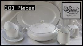 101 pieces of Grace fine china Concerto pattern includes ddinner salad saucer bread and butter cups gravy boat and more setting for fourteen