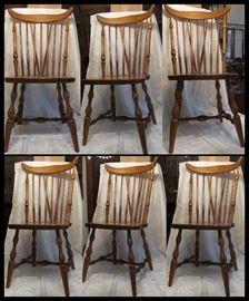 Six Braced Fan Back WINDSOR Chairs