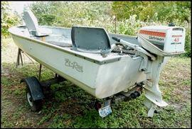 14 foot El Rae fiberglass fishing boat made in Rice Lake Wisconsin plus trailer and motor