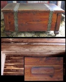 Antique cedar chest approximately 31 and a half inches wide 17 inches tall and 17 inches deep