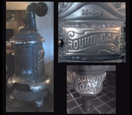 Antique Round Oak wood stove model no 16 0 2 approximately 58 inches tall by 24 inches wide