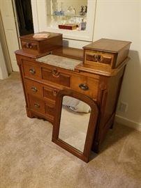 lovely Eastlake dresser and mirror, marble center section