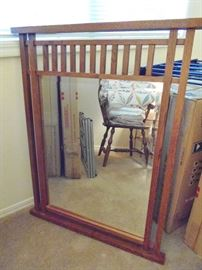 Mission style wood mirror