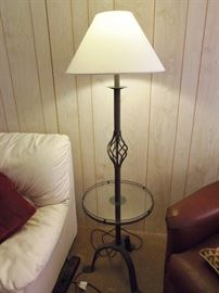 Glass and iron floor lamp
