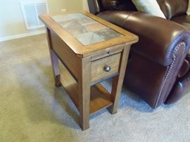 Lamp table with slate top section