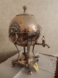 Silver Antique Coffee Urn with Bone Handled Spout