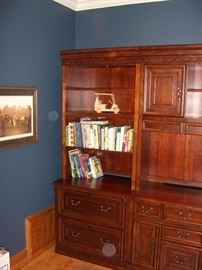 Other end section of cherry Hooker bookshelf/cabinet.