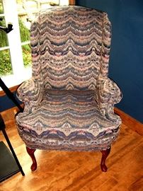 Queen Anne wing back chair.